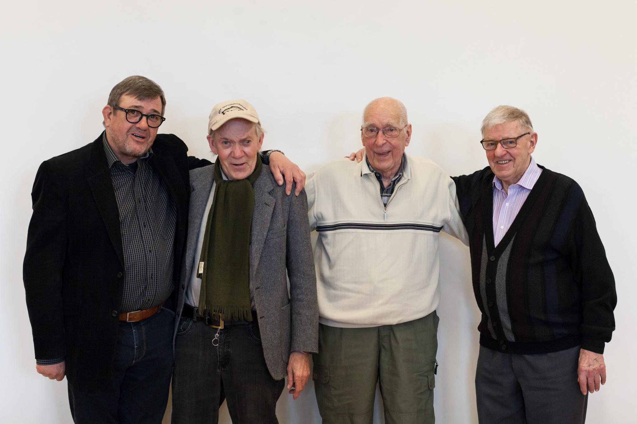 Asger Brodde sammen med 3 tidligere formænd: Børge Riis, Bent Skjødt og Erik Madsen